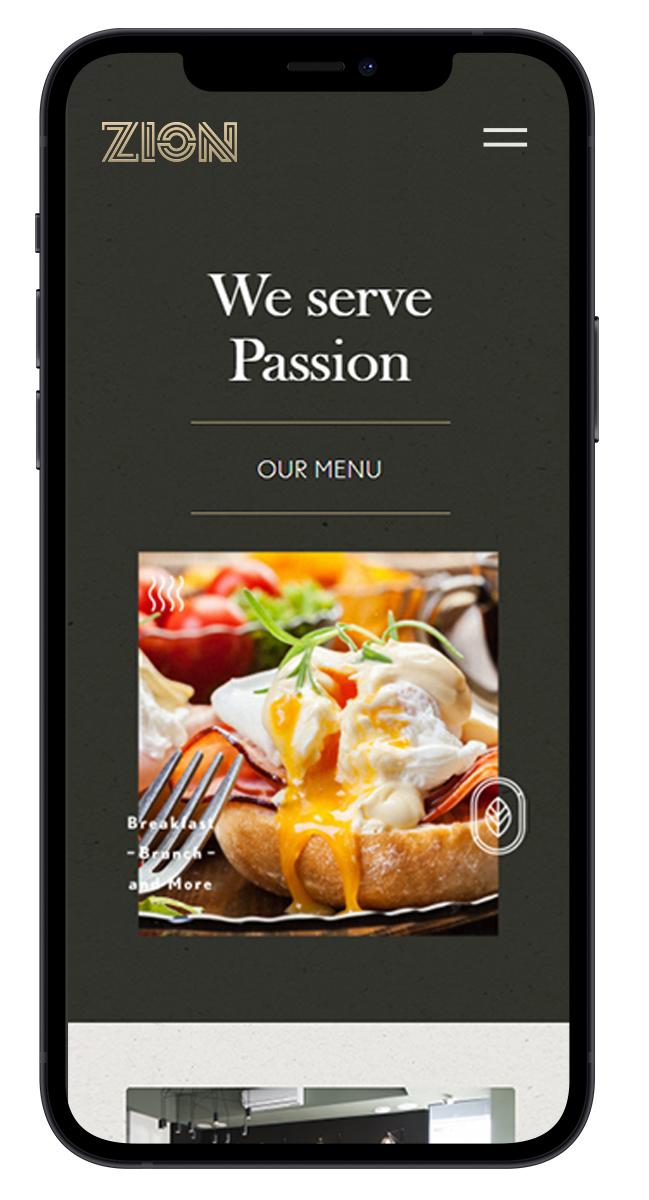 Siteul restaurantului Zion pe telefon